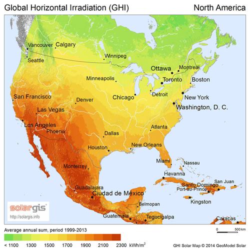 Ensoleillement en Amérique du Nord