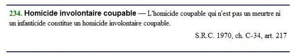 L'homicide involontaire n'est pas accidentel